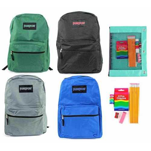 """Case of [12] Pre-Filled 15"""" Classic PureSport Backpack & Elementary School Supply Kit Set - Black"""