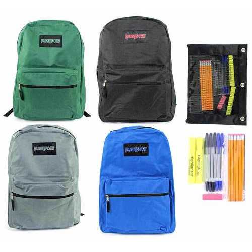 """Case of [12] Pre-Filled 15"""" Classic PureSport Backpack & High School Supply Kit Set - Green"""