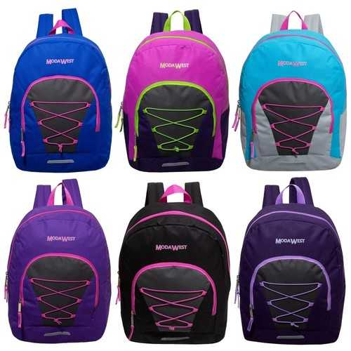 "Case of [24] 17"" Classic Bungee Backpacks - 6 Assorted Colors"