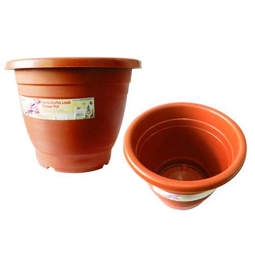 "Case of [12] Terra Cotta Look Flower Planter - 11.5"""