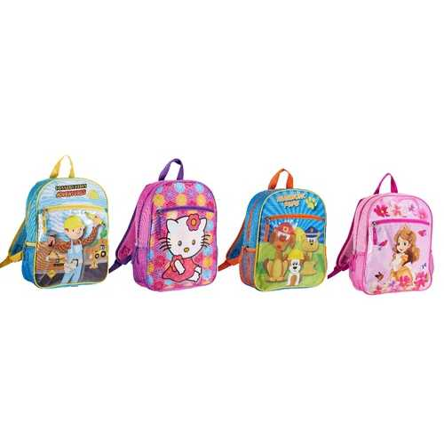 "Case of [24] 14"" Character Backpack - 4 Assorted Charcters"
