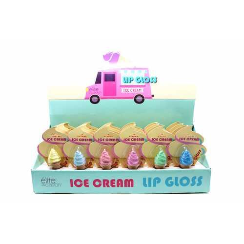 Case of [24] Elite Pro Beauty Ice Cream Lip Gloss - Assorted