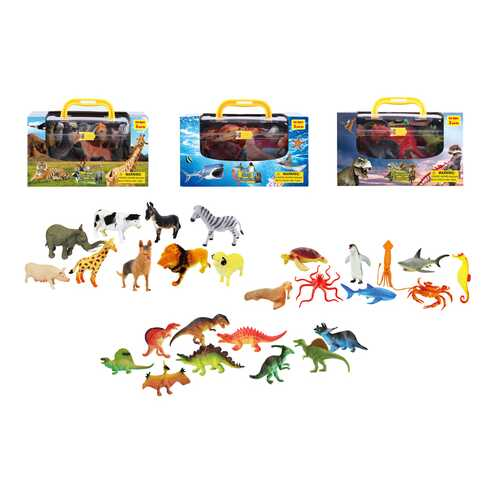Case of [24] Assorted Toy Animals with Carrying Case