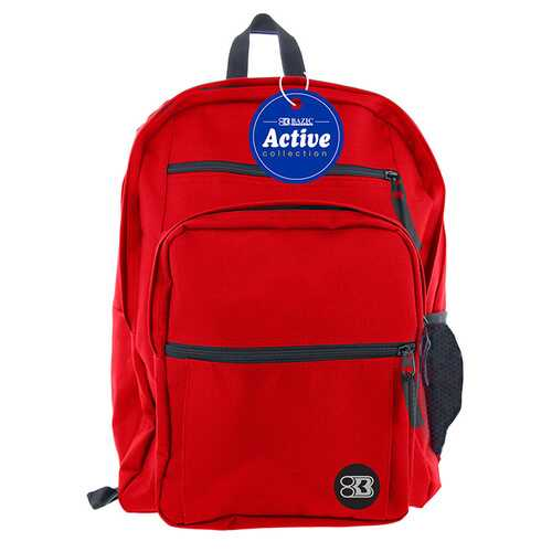 "Case of [12] 17"" BAZIC Premium Active Backpack - Red"