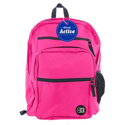 "Case of [12] 17"" BAZIC Premium Active Backpack - Fuchsia"