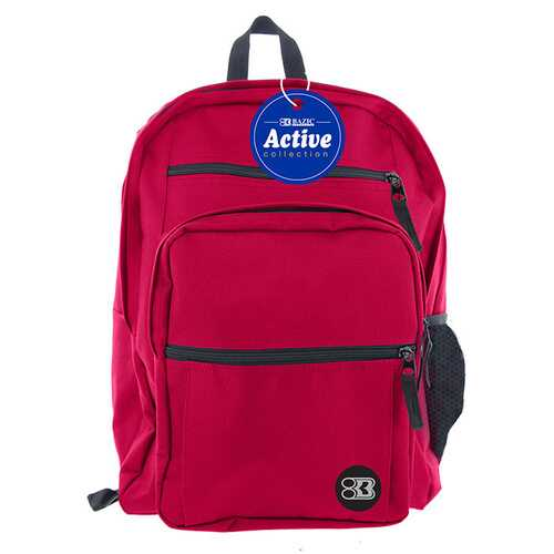 "Case of [12] 17"" BAZIC Premium Active Backpack - Burgundy"