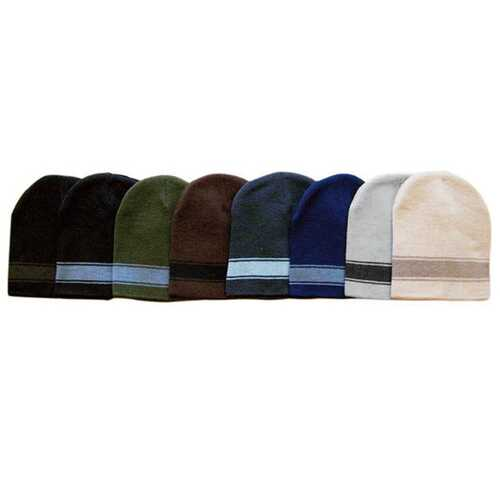 Case of [120] Adult Short Striped Beanies - Assorted Colors