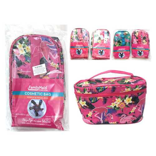 Case of [12] Printed Zippered Travel Cosmetic Bag - Assorted Designs