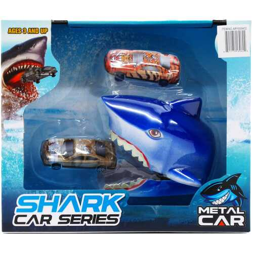 """Case of [12] 4.5"""" Shark Launcher with 2 Cars - Assorted Colors"""