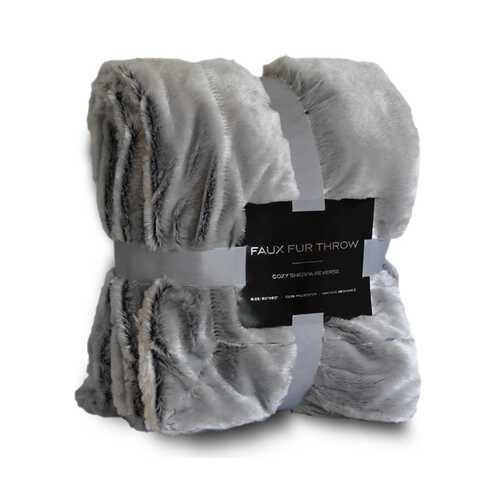 """Case of [12] 50""""x60"""" Luxury Faux-Fur Grey Sherpa Blanket"""