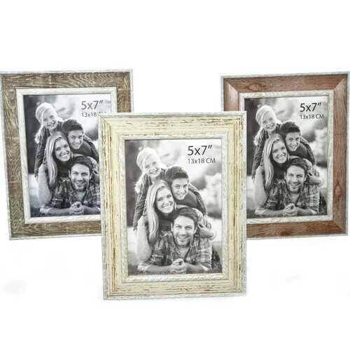 "Case of [48] Plastic Photo Frame - 5"" x 7"" - Brown/Beige/Wood"