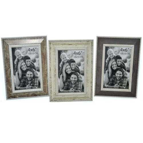 "Case of [48] Plastic Photo Frame - 4"" x 6"" - Beige/Brown/Grey"