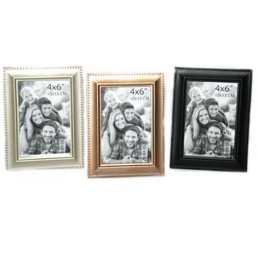 """Case of [24] Plastic Photo Frame - 4"""" x 6"""" - Black/Gold/Silver"""
