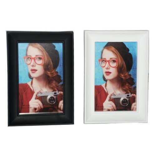 "Case of [36] Plastic Photo Frame - 4"" x 6"" - Black/White"
