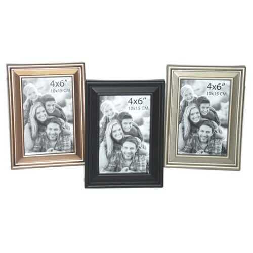 "Case of [24] Plastic Photo Frame - 4""x6"" - Brass/Silver/Black"