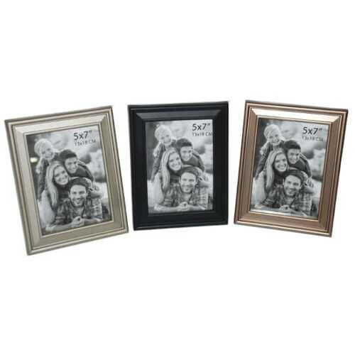 "Case of [24] Plastic Photo Frame - 5""x7"" - Brass/Silver/Black"