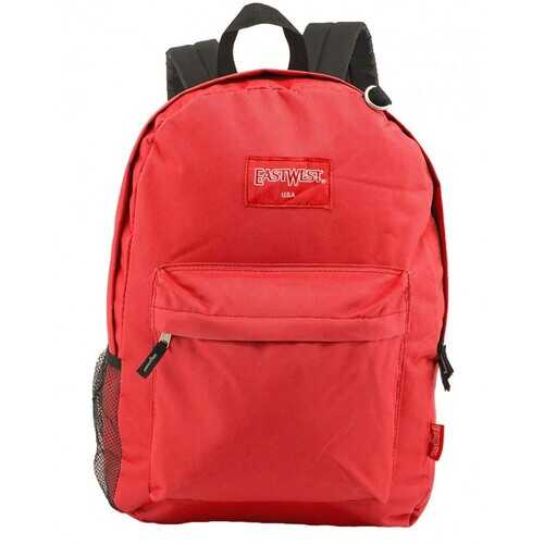"""Case of [24] 18"""" Classic Bulk Backpacks with Side Mesh Water Bottle Pocket - Red"""