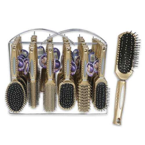 Case of [36] Champagne Beige Hair Brush with Wire Rack