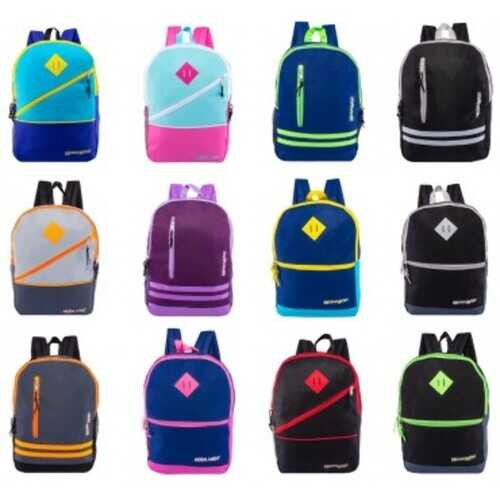 "Case of [24] 17"" Classic Backpack with Assorted Zipper Designs"
