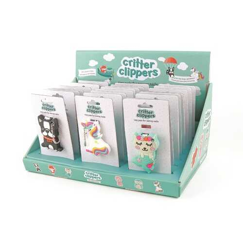Case of [24] Kids' Critter Nail Clippers - Display included