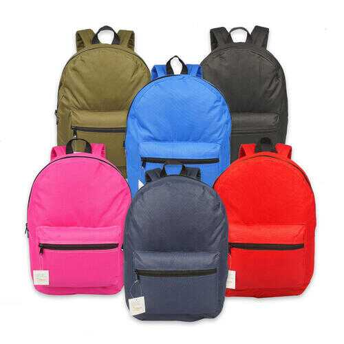 "Case of [12] 17"" Basic Three Leaf Backpack"
