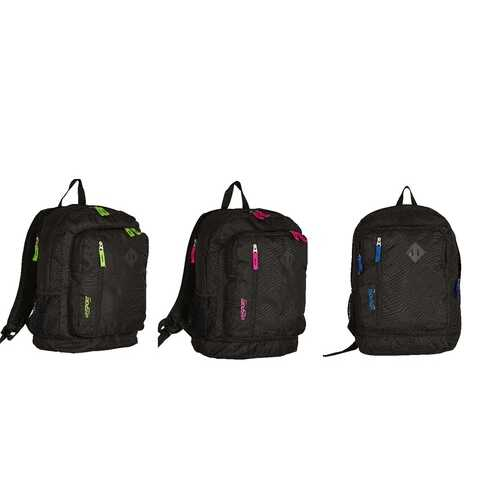 """Case of [12] 18"""" Premium Black Backpack with Assorted Color Accents"""