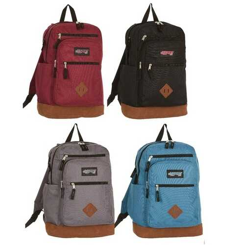 """Case of [12] 18.5"""" Premium Leatherette Bottom Backpack - Assorted Colors"""