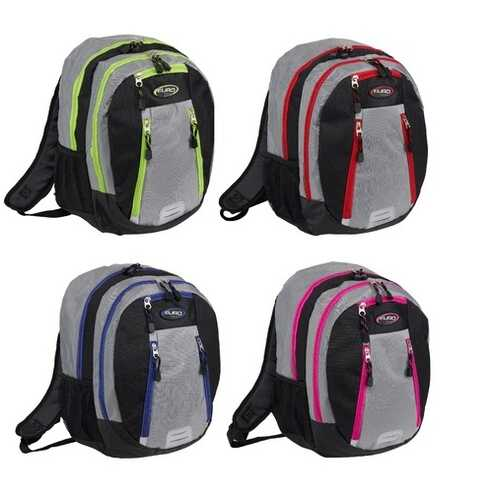 """Case of [12] 18"""" Classic Two Compartment Backpack - Assorted Colors"""