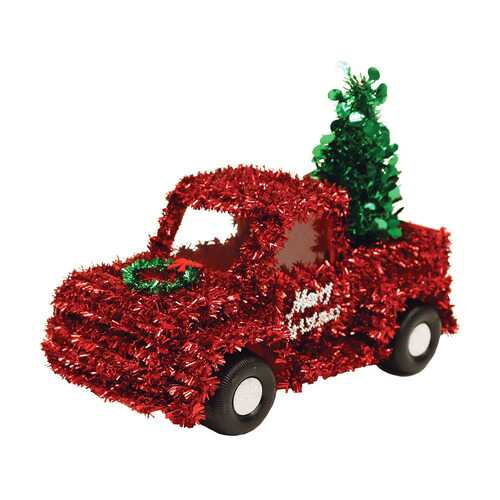 Case of [12] Christmas Tinsel Red Truck With Tree