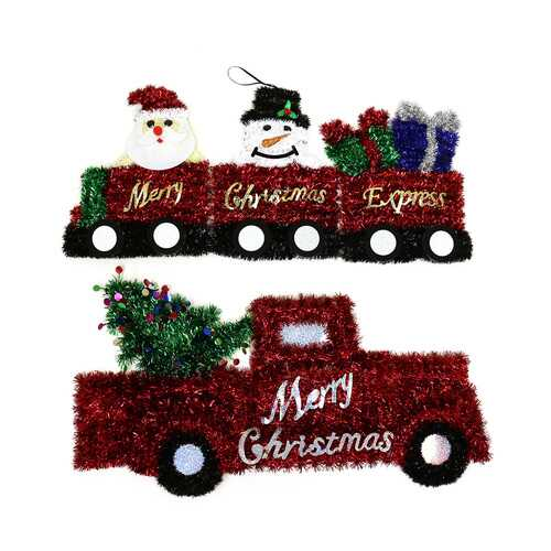 Case of [12] Christmas Tinsel Red Truck And Character Wall Hanging Train