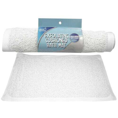 "Case of [24] 29"" Exfoliating Cushioned Bath Mat - White"