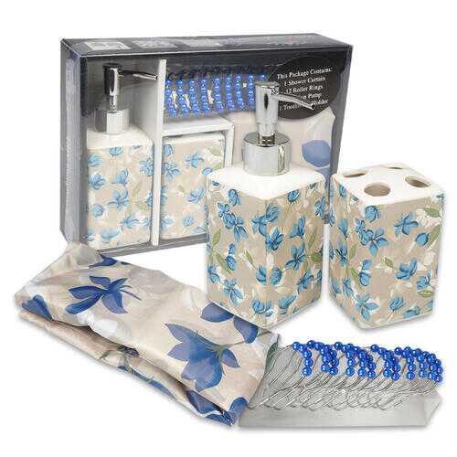 Case of [10] 15 Piece Blue Spring Blossom Bath Set