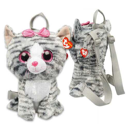 """Case of [12] 13"""" ty Gray Cat Plush Backpack"""