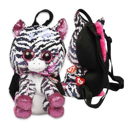 """Case of [12] 13"""" ty Sequin Zebra Plush Backpack"""