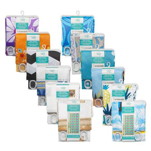 """Case of [24] 70"""" x 72"""" Fabric Shower Curtain with Hooks Set - Assorted Prints"""