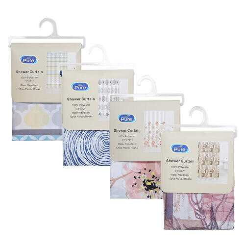 """Case of [24] Shower Curtain - 72"""" x 72"""" - Assorted"""