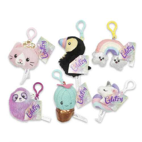 Case of [48] Glitzy Plush Clip Keychains - Assorted