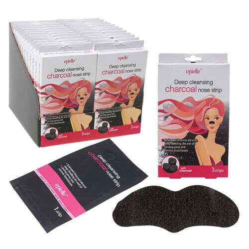 Case of [24] Epielle Deep Cleansing Charcoal Nose Strip - 3 Pack