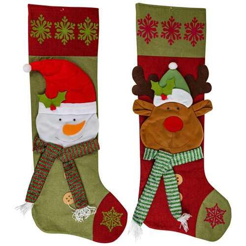 "Case of [12] 48"" Jumbo Snowman & Reindeer Stocking"