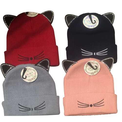 Case of [120] Kids Kitty Ears Knit Winter Hats