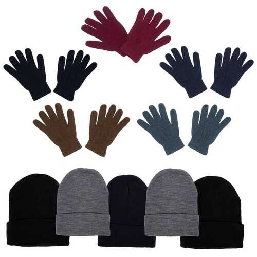 Case of [96] 96-Pack Unisex Beanies and Gloves