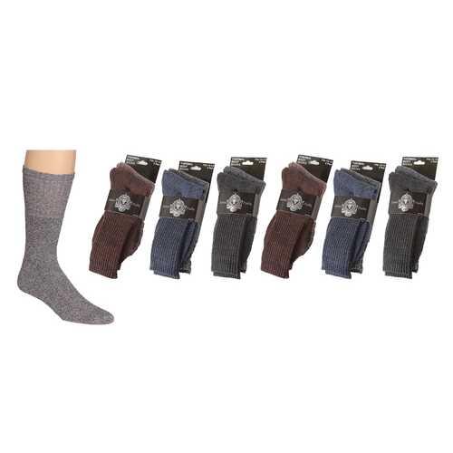 Case of [120] Heavy Thermal Socks - 2 Pack, Blue/Grey/Brown