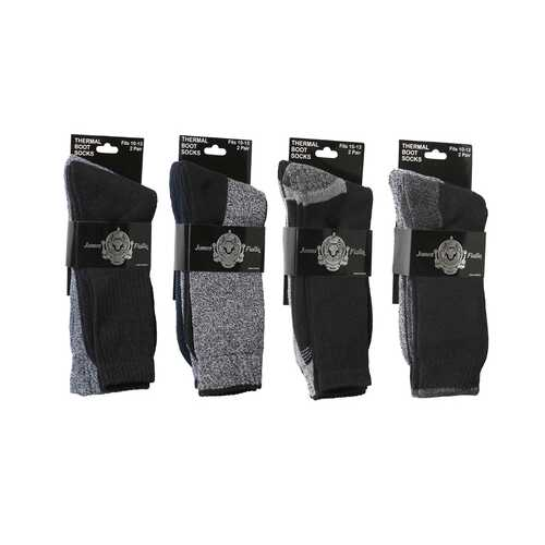 Case of [120] Heavy Thermal Socks - 2 Pack, Navy/Grey/Black