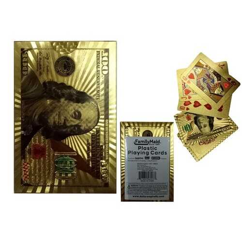 Case of [100] Gold Plastic Playing Cards