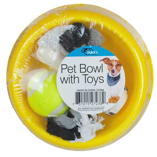 Case of [4] Dog Bowl with Toy Set