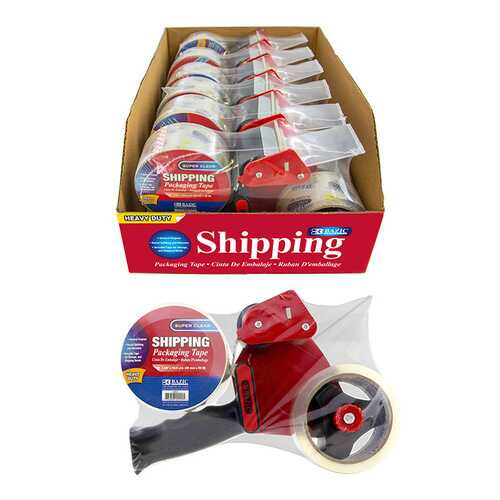 "Case of [6] BAZIC Packaging Tape Dispenser w/ (2) 1.88"" X 54.6"