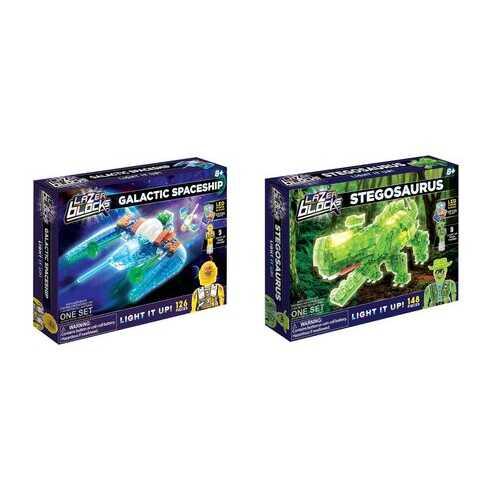 Case of [6] Assorted Lazer Blocks Sets - Galactic Spaceship/Stegosaurus
