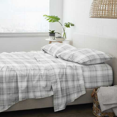 Case of [12] Home Collection Premium Plaid Flannel Bed Sheet Set - 4 Piece