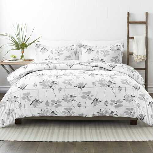 Case of [9] Home Collection Premium Down Alternative Magnolia Grey Patterned Comforter Set