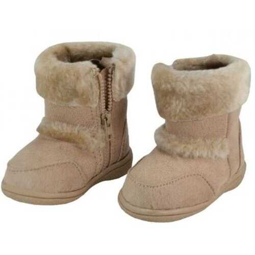 Case of [24] Kids' Winter Boots with Fur Cuff - Beige, 12-4
